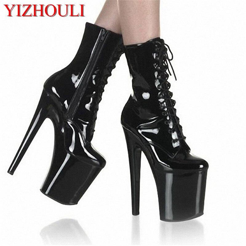 Mode sexy chevalier femme 8 pouces haut talon plate-forme bottines pour femmes automne hiver chaussures 20cm noir pôle danse bottes