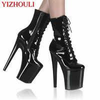 Mode sexy ritter weibliche 8 zoll hohe ferse plattform knöchel stiefel für frauen herbst winter schuhe 20cm schwarz pol tanzen stiefel