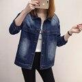 Chaqueta de Jeans de Moda de Marca de alta Calidad de Las Mujeres 2017 Más El Tamaño XL-5XL Primavera Mano Cepillo de Manga Larga Chaqueta de Mezclilla Abrigos Cardigan