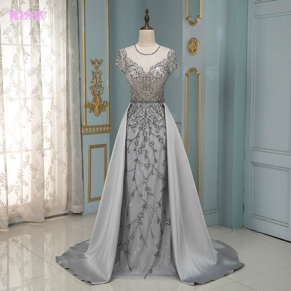 YQLNNE Couture Silver Rhinestones Evening Gown Dress Cap Sleeve Satin Skirt Formal Dresses Robe De Soiree