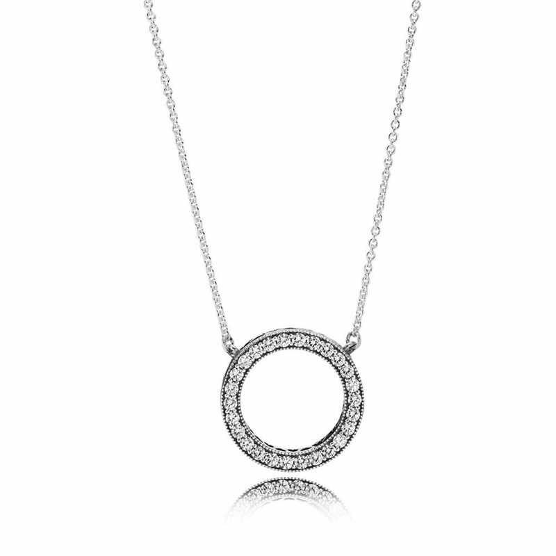 Caldo 2019 di Stile 100% Reale 925 Sterling Silver Fortunato Cerchio Romantico Collane con pendente Per Le Donne Sterling-Argento-Gioielli