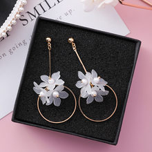 2018 Hot Jewelry Summer style Elegant White Flower dangle Earrings Long Copper statement Earrings for Girls gift for woman(China)