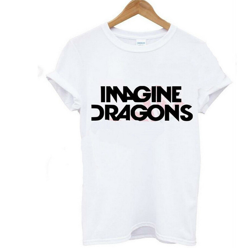 Imagine Dragons letters Print algodón camiseta casual camiseta divertida de  las mujeres Camisas calle roca t-shirt de gran tamaño s-xxxl cb796cdbb65