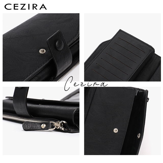 CEZIRA Large Capacity Women Big Wallet Female Cards Holder Multi Function Long Wallet Coin Pocket PU Leather Lady Clutch Purse 3