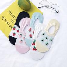 лучшая цена Fashion Women Fruit Patterned Socks Slippers Women Banana Watermelon Cotton Boat Socks Female Short Invisible Socks Art Hosiery