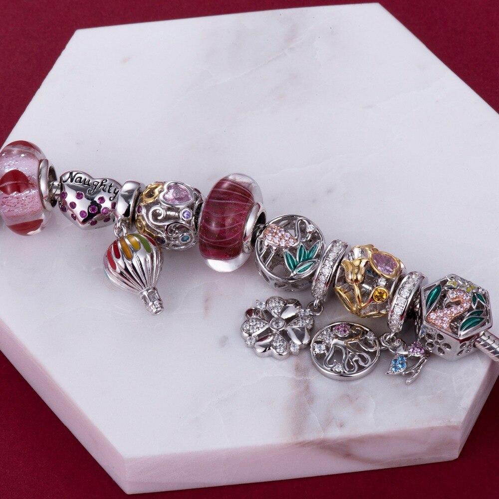 Video! Goldene Rose am Rebstock 925 Sterling Silber Perlen Charms - Modeschmuck - Foto 2
