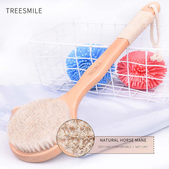 TREESMILE Natural horse hair  Long Anti-slip Handle Wooden Body Maasage Health Care Bath Brush for bath body scrub Shower  Brush
