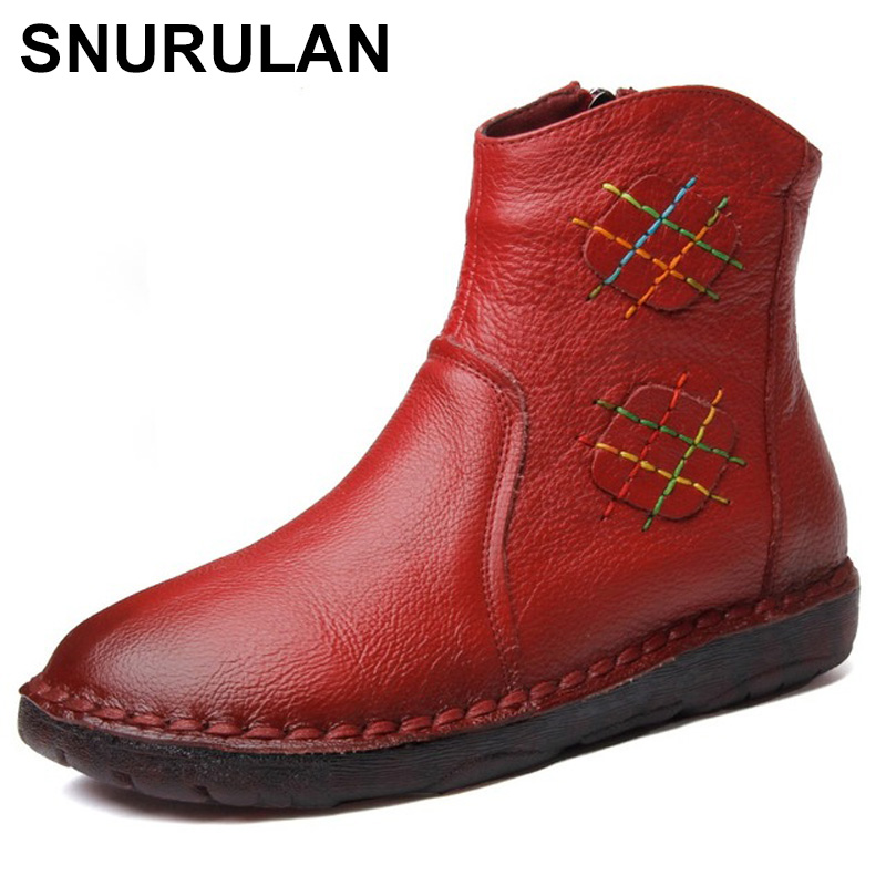 SNURULAN 2018 Autumn Women Ankle Boots Vintage Handmade Genuine Leather Flat Martin Boots For Women Casual Shoes Botas Mujer nikbea brown ankle boots for women vintage flat boots 2016 winter boots handmade autumn shoes pu botas feminina outono inverno