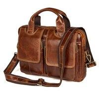 Nesitu Vintage A4 Brown Real Skin Genuine Leather Men Briefcase Messenger Bags Male Portfolio for 9.7'' ipad Shoulder Bag M7378