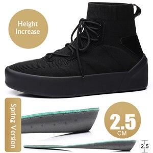 Image 5 - Misalwa Mannen Sok Schoenen 38 45 Hoge Top Casual Stretch Mannen Vulcaniseer Schoen Winter Lente Lace Up Sneakers flat/2.5Cm Toenemende
