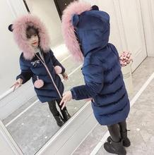 2018 Children Winter Coat Girls Fur Hooded Thick Long Jacket Hooded Outwears Kids Cotton-Padded Jacket Parkas for 8 10 12 years 45 pcs box moon style mini paper decoration diy scrapbook notebook album seal stickers stationery kawaii girl sticker