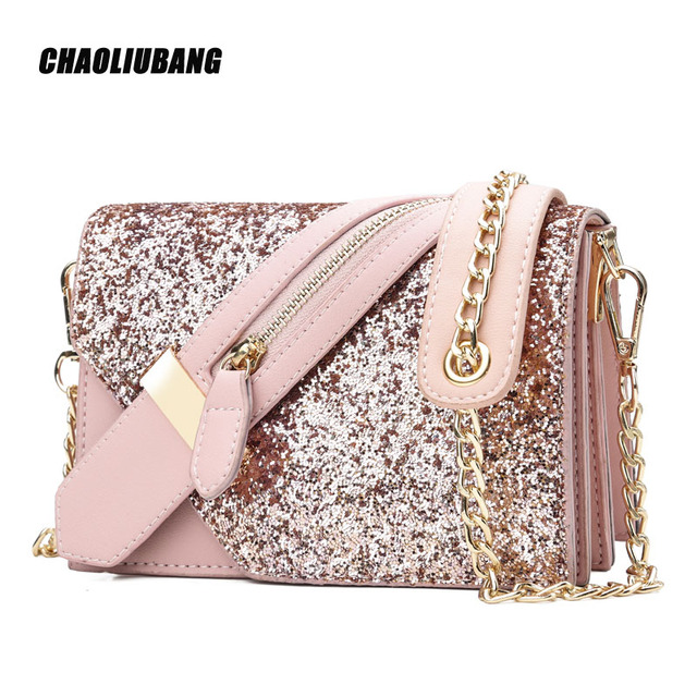 1da6eeb94cff2 US $30.54 |Women Sequin Shoulder Bag Shiny Glitter Chain Bag Pu Leather  Flap Party Crossbody Bag Fashion Handbag Women Pink/Blue/Black 4849-in ...