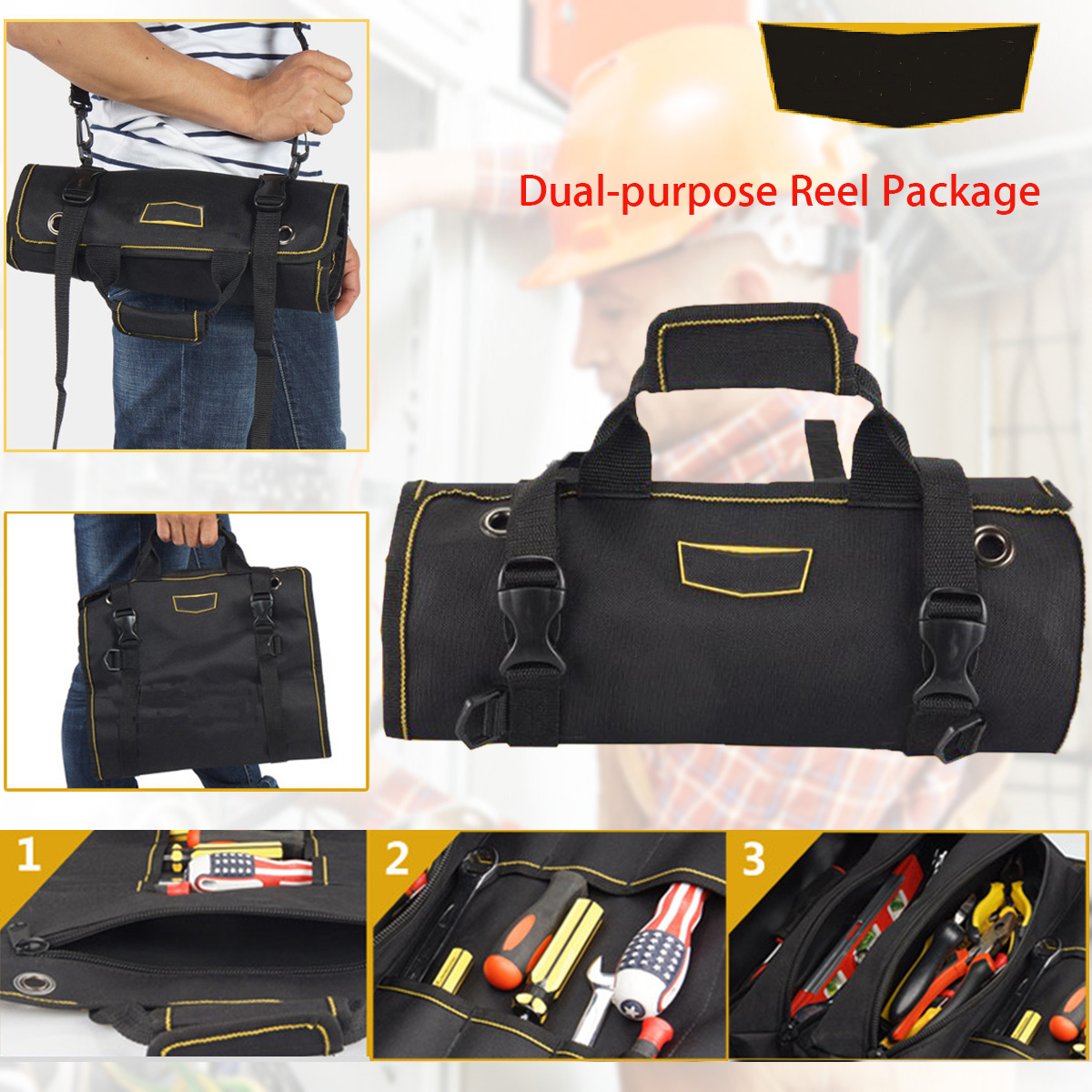 Multifunction Electrician Tool Pouch Reels Storage Reel Tool Bag Electrician Tools Kit Roll Bag Kit Spanners Oxford Cloth Bag 1pcs 14 inch appliances electrical repair bag after sales tool bag oxford cloth double canvas thickening tool kit