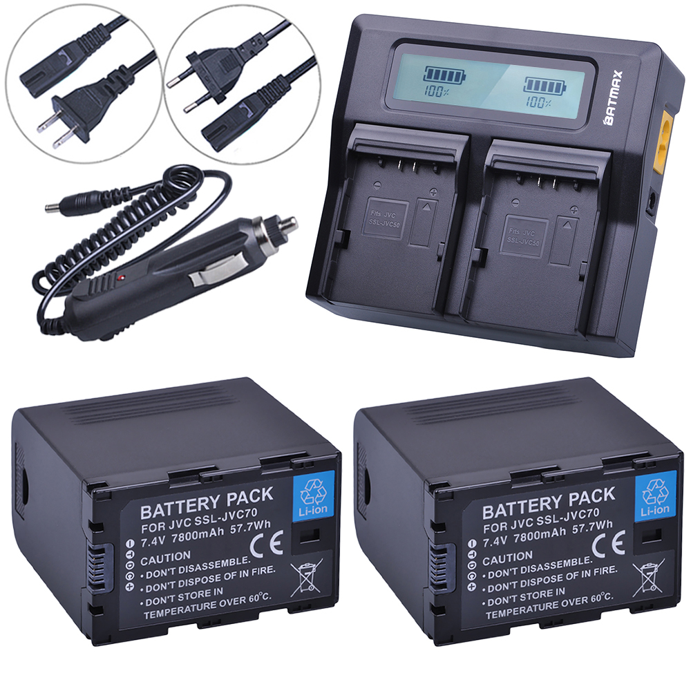 2Pcs SSLJVC70 SSL-JVC70 JVC50 Battery with USB Output + LCD Rapid Dual Charger for JVC GY-HM600, GY-HM650, GY-HMQ10, GY-LS300 видеокамера jvc gy hm70