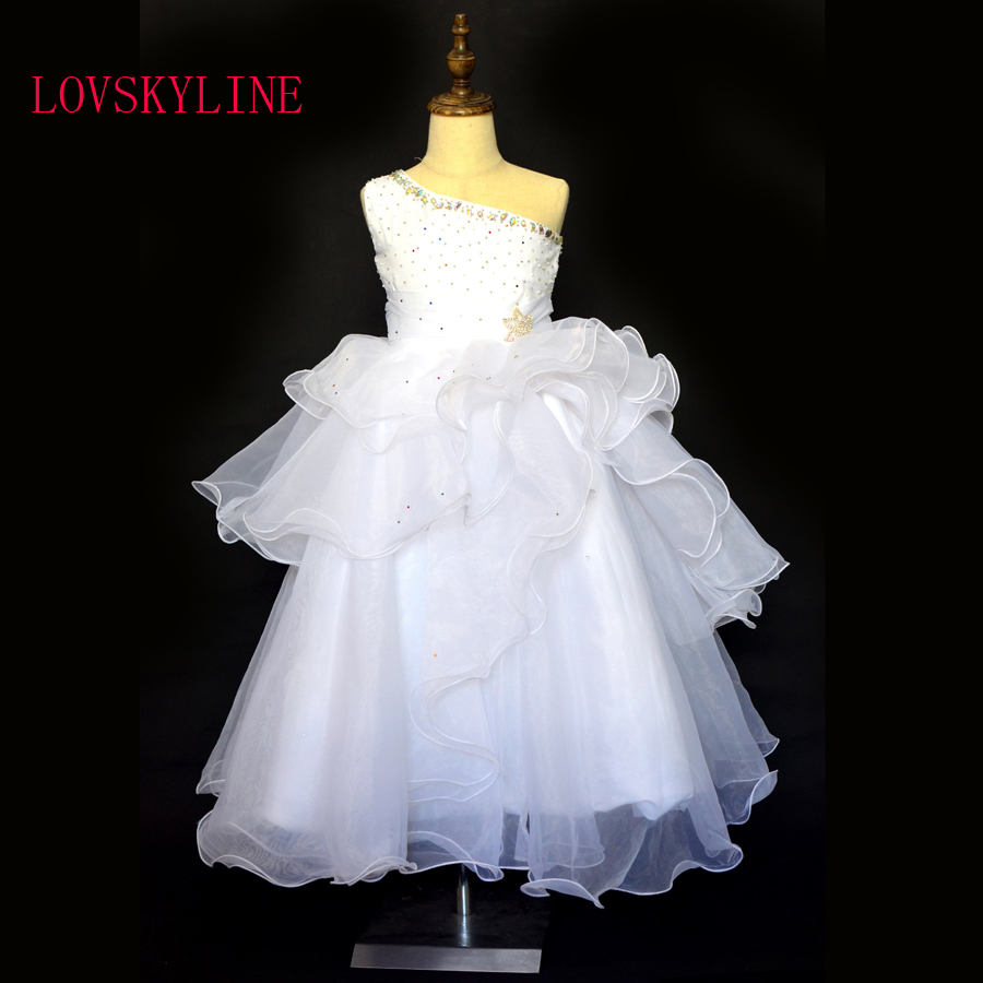 Real Photo Snow White One Shoulder Flower Girls Dresses For Weddings Baby Party Frocks Sexy Children Dress Kids Prom Gowns