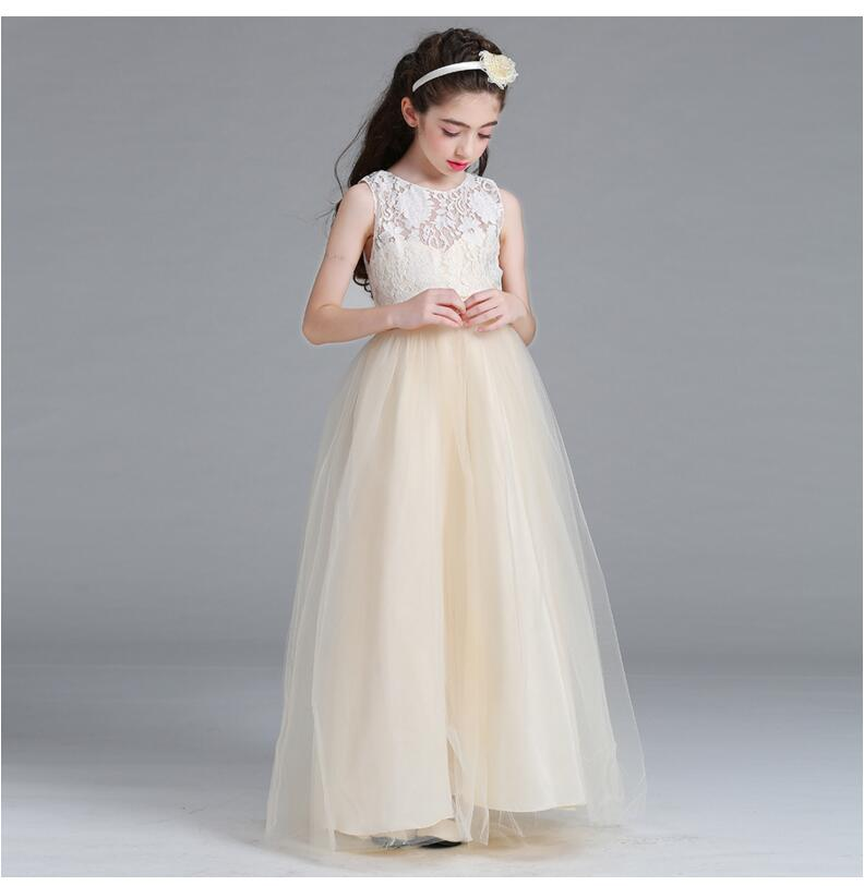 e8160770d94 Lace wedding dress Fromal Fancy French connection dress Princess vestido  Children s Clothing Party Prom Wear Costume for 5-14 Y