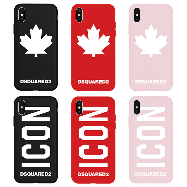 new concept 6fa1f 9e915 Dsquared DS2 ICON Maple Leaf Soft Case for iPhone6 6Plus 6s 6sPlus 7 8  7Plus 8Plus X Xs XR Xs Max 5 5s SE Phone Cover Cases Hull
