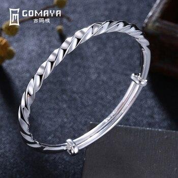 01eba6325fb1 Gomaya 100% 999 Twisted Brazaletes nuevo diseño fino antiguo elegante  pulsera ancha Joyería fina regalo para las mujeres