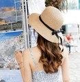 Оптовая Женская Мода Большой Брим Floppy Летние шляпы лук модные аксессуары Вс Соломенная Шляпка Cap