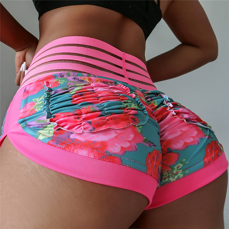 Sexy short   Leggings   Bottom pleated Pockets lace High waist Women Push Up fitness   Legging   workout Sportswear   Leggings   2019 New