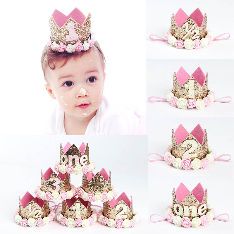2018 NEW Baby Boy Girl First 1st Birthday Party Hat Gold Princess Prince Crown One Two Three Year Old Glitter Cartoon Hats