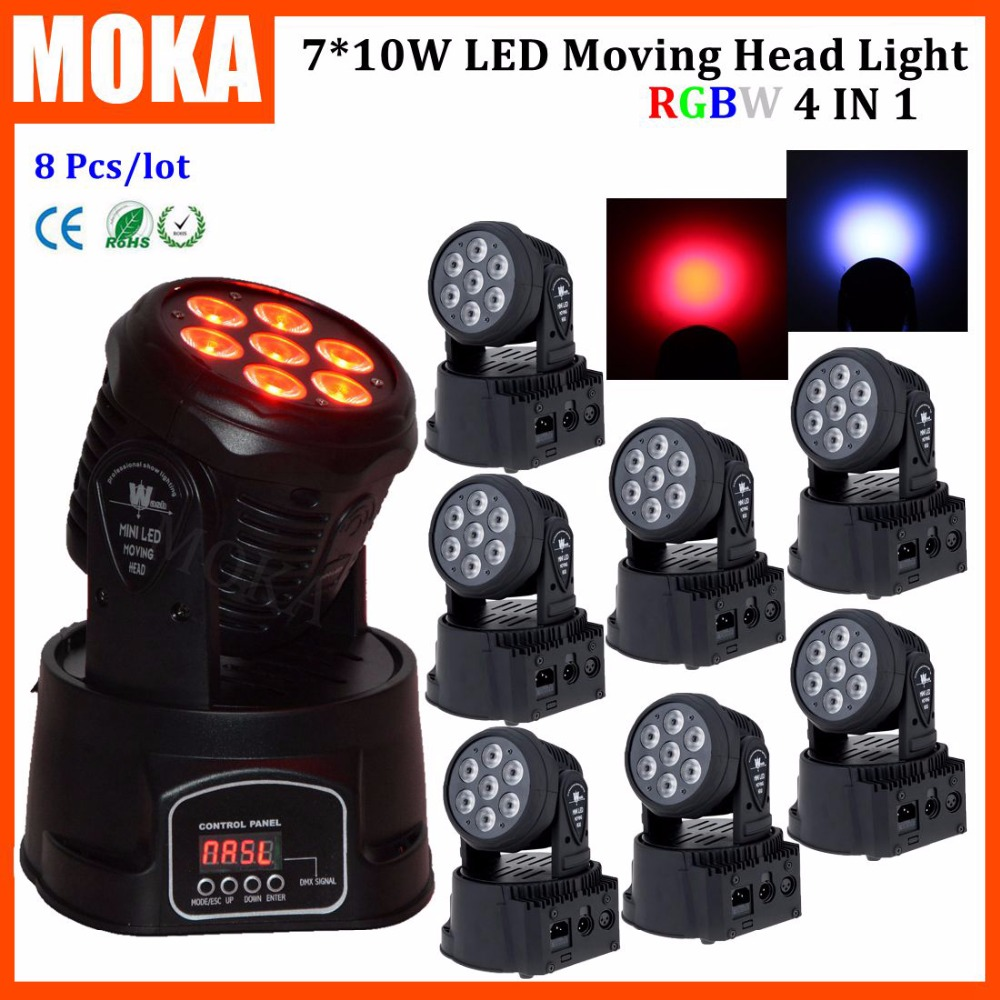 8PCS/LOT Full Color 4In1 Cree 7*10W Stage Lighting Led Mini Beam Wash Head Moving Light for Party Event Nightclub Daytime Shiner niugul dmx stage light mini 10w led spot moving head light led patterns lamp dj disco lighting 10w led gobo lights chandelier