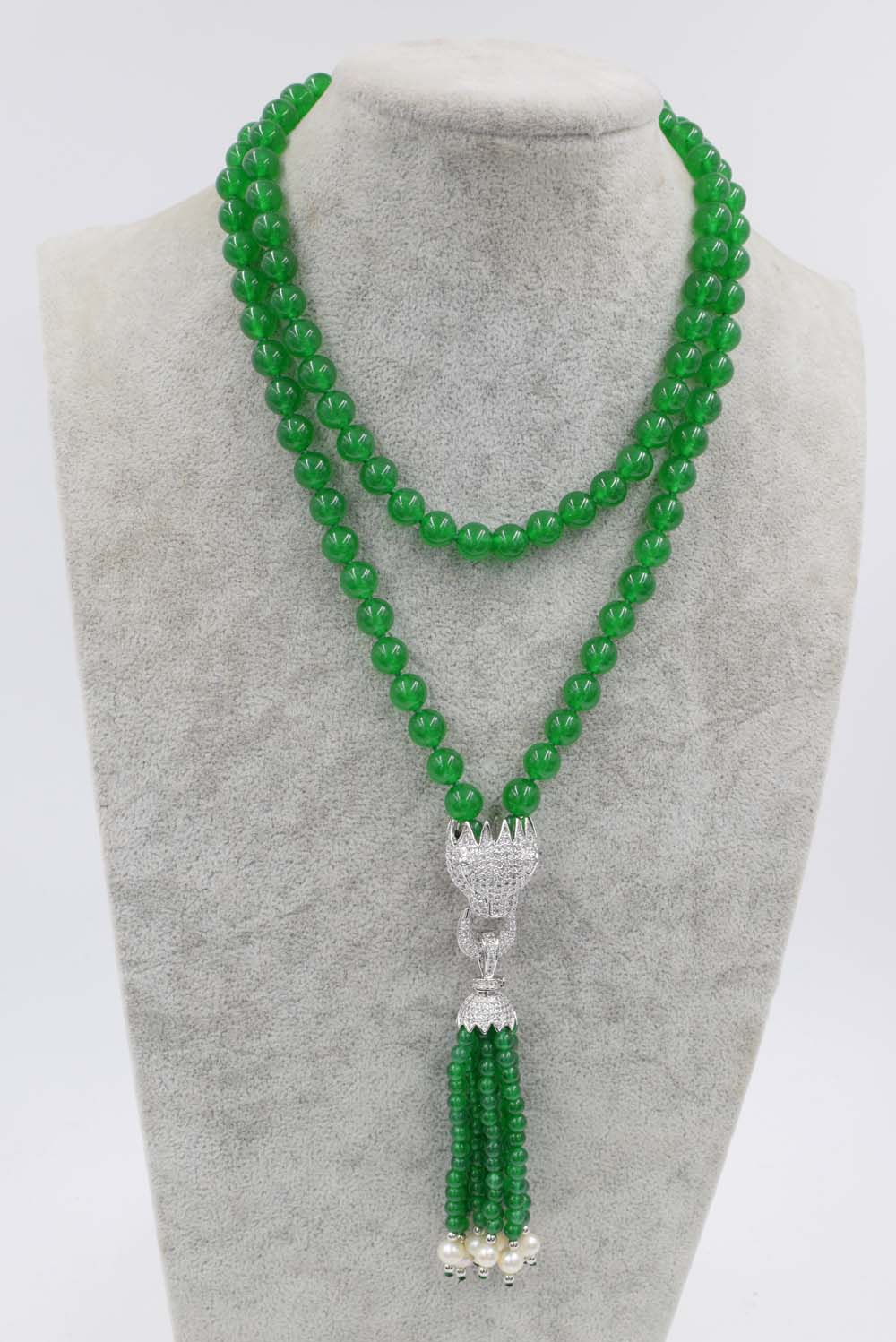 green jade round 8mm and white pearl near round leopard clasp necklace 33inch wholesale beads nature gift discount FPPJ