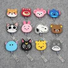 YIYOHI 60cm Cartoon Dog Cat Animals Silicone Retractable Reel Nurse Badge for Bus Bank Credit Card Holder ID Holders недорого