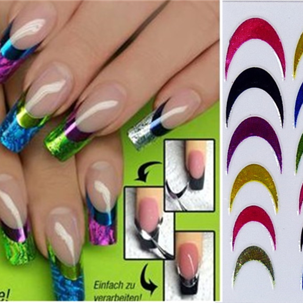 1sheets 3d DIY Designs Hot Fashion Colorful Nail Art French Tips ...