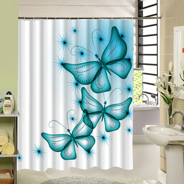 2017 New Polyester Fabric Shower Curtain Purple Waterproof Home Bathroom Curtains Butterfly Bath For