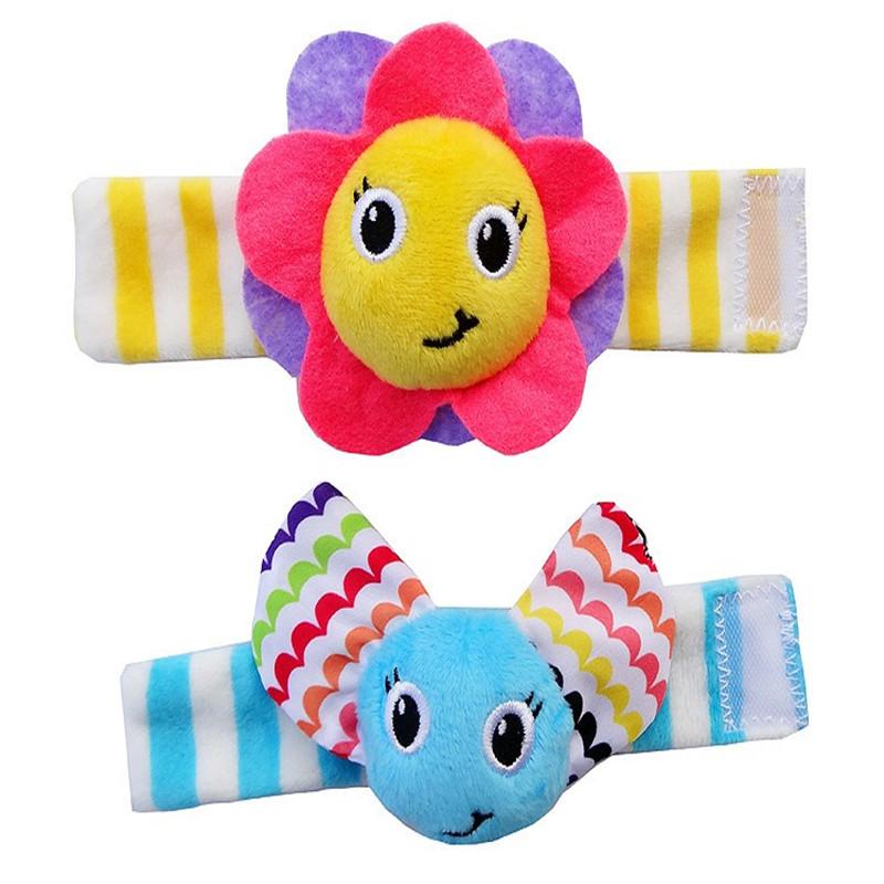 2 pcs/pair JJOVCE Baby Wrist Band Rattle Socks Stuffed Flowers bee plant Toy Plush Doll Bell Ring Paper Kids Children Xmas
