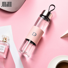 JOUDOO 450ML Single Layer Glass Water Bottle Brief High Quality Cups With Rope Portable Tea Outdoor Tour Drinkware Cup 35