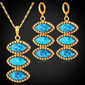Turquoise Pendant Necklace & Earrings Jewelry Set Gold Plated Vintage Green Stone Trendy Party Jewelry For Women PE1116
