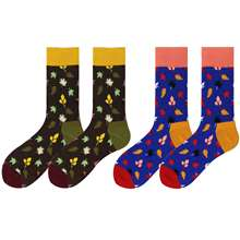WH SOKKEN Happy socks Spring and autumn couple combed cotton leaf pattern suitable for matching travel suit jeans