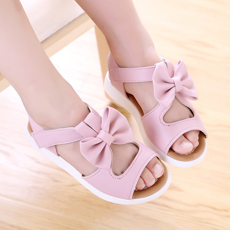 KKABBYII Summer Baby Girls Bow Sandals Kids Skidproof Beach Shoes Children casual Leather Rome Sandals
