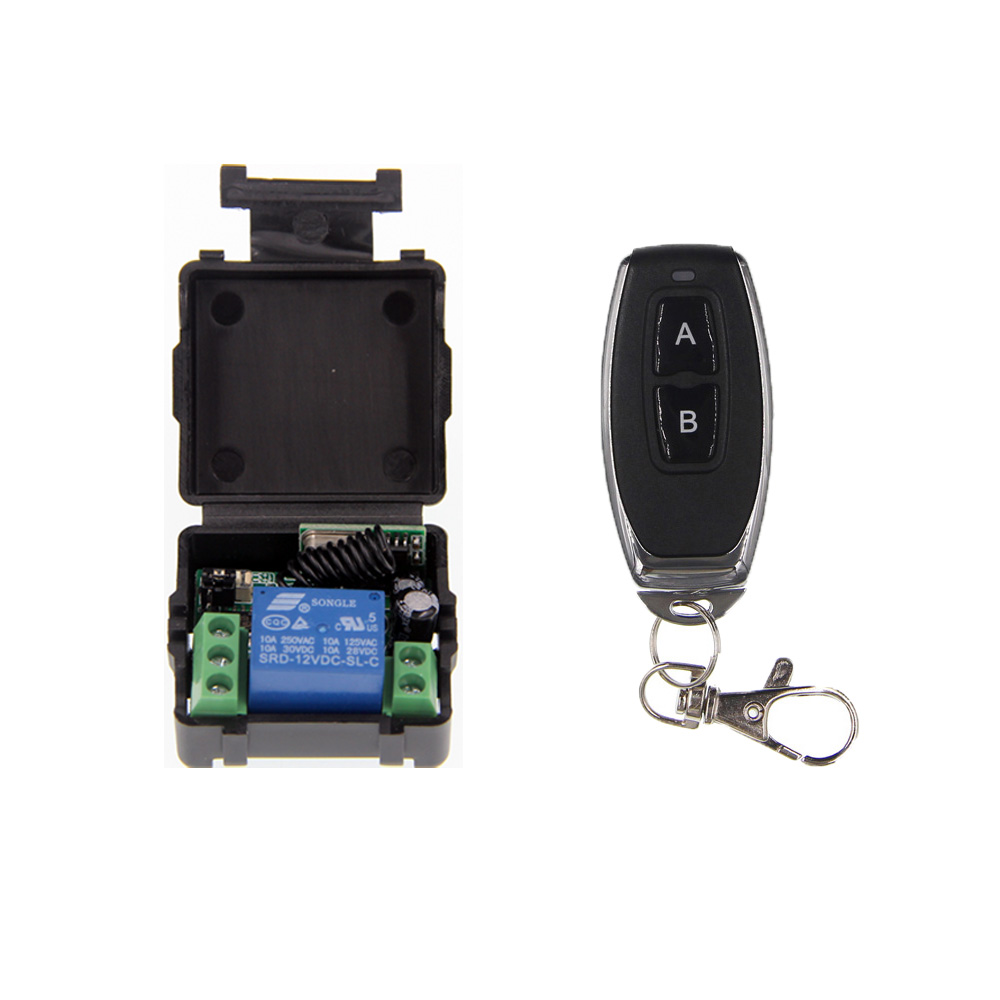 Mini Size DC 12V 1CH 1CH 10A RF Wireless Remote Control Switch System, (Receiver +Transmitter) ,A=ON B=OFF,Latched 3000m ac 220v 110v 1 ch 1ch rf wireless remote control switch system 315 433 92 3x transmitter receiver latched a on b off