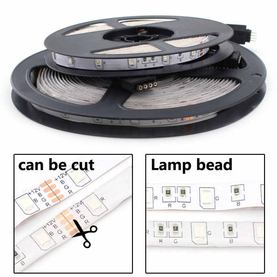 DC 12 V RGB LED de luz de tira PC 2835 5M impermeable 12 V 12 V de cinta Flexible ledstrip cuerda IR adaptador de corriente de Control remoto