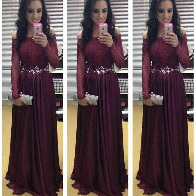 Borgonha prom dresses marsala chiffon vestidos boat neck mulheres vestidos de noite vestido