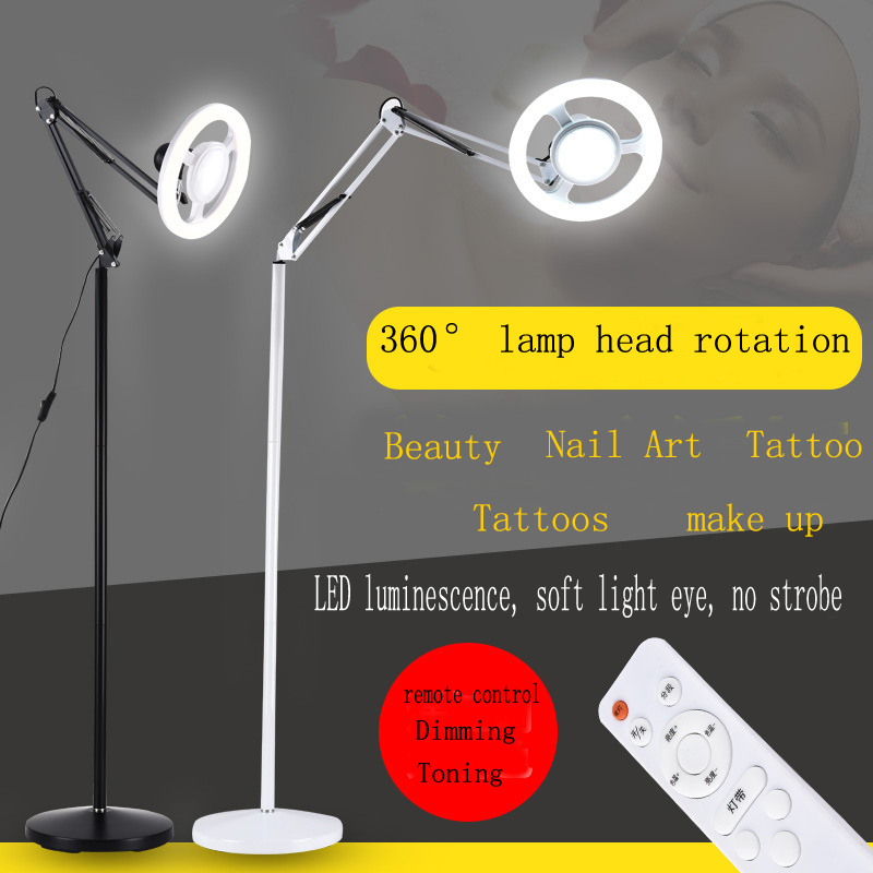 Photo beauty grafting eyelashes semi permanent tattoo eyebrow tattoo special LED cold light shadow beauty floor lamp-in Floor Lamps from Lights & Lighting