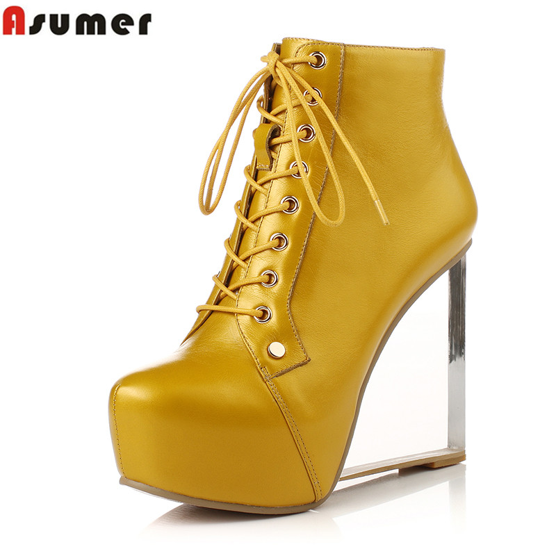 Asumer Plus size 34-41 NEW sexy pointed toe yellow women genuine leather boots lace up transparent wedges high heels ankle boots asumer 2017 new high heels wedge boots lace up sexy cut out mesh platform boots women elegant thick sole summer ankle boots