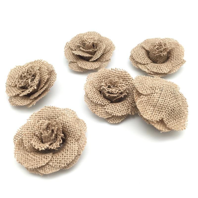 6pcs Vintage Burlap Hessian Jute Roses Flower Wedding Party Decor DIY Craft