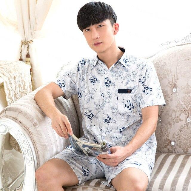 2016 New Summer Mens Pajamas Shorts Sleeved Pajama Sets Cotton Breathable Sleepwear Set Men's Sleepwear Sleep&Lounge