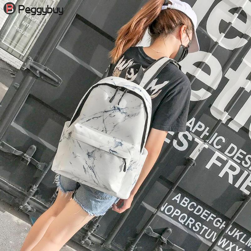 Image 3 - Fashion Unisex Backpack Women Men Canvas Backpack for Teen Girl Bags Casual Marbling Backpack Female Rucksack School Bag Mochila-in Backpacks from Luggage & Bags
