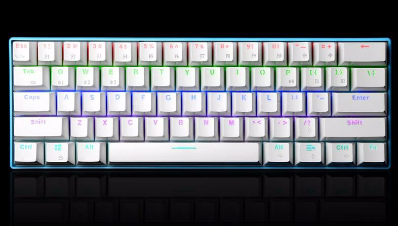 ФОТО rk61 mini portable 60% mechanical keyboard wireless bluetooth kailh mx blue switch gaming keyboard colorful backlight