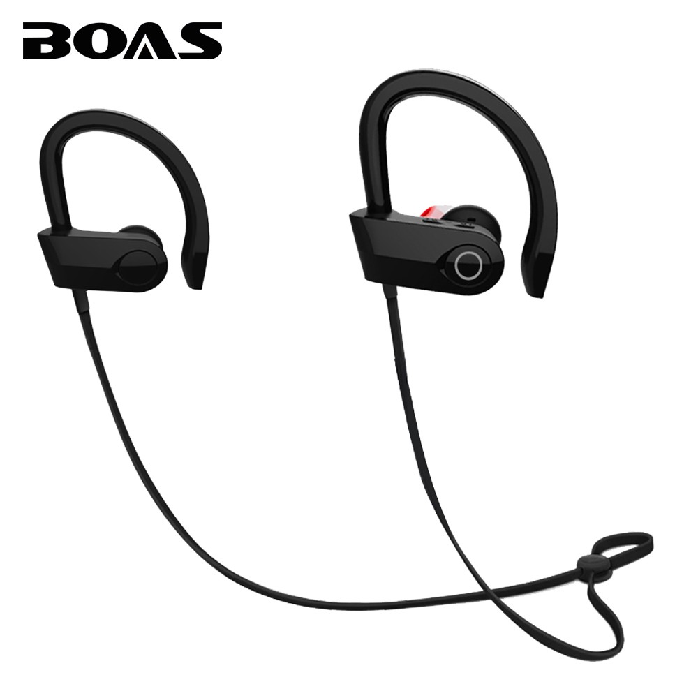 BOAS Bluetooth V4.1 Wireless Earphone Running Stereo Headset Sport Headphone Music with Mic Ear Hook Handsfree for iPhone Xiaomi boas car driver bluetooth earphone wireless handsfree handphone base charger dock in ear hook headset with mic for iphone xiaomi