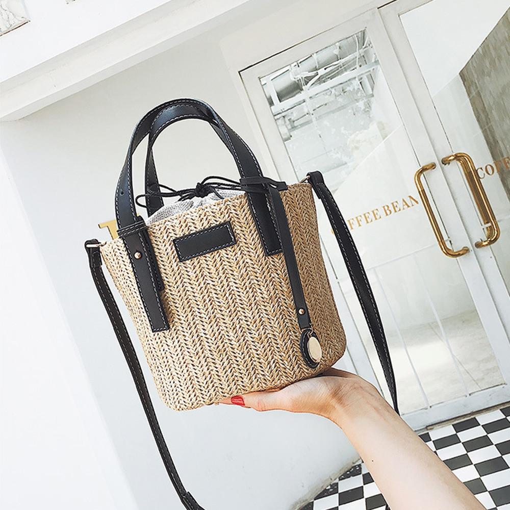 2019 New Ladies Shoulder Bags Fashion Woven Straw Handbag Simple Portable Bucket Small Bag Bohemia Summer Beach Straw Bag