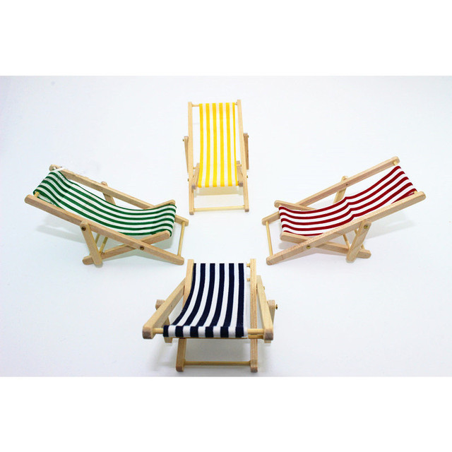 1pc Dollhouse Miniature Chairs Mini Beach Lounge Chair Garden Decoration Furniture Folding Stripe Deck Diy