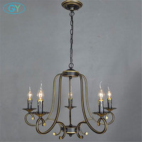 European vintage wrought iron pendant lights candle lustres minimalist dining room bedroom living room candles lighting lamps