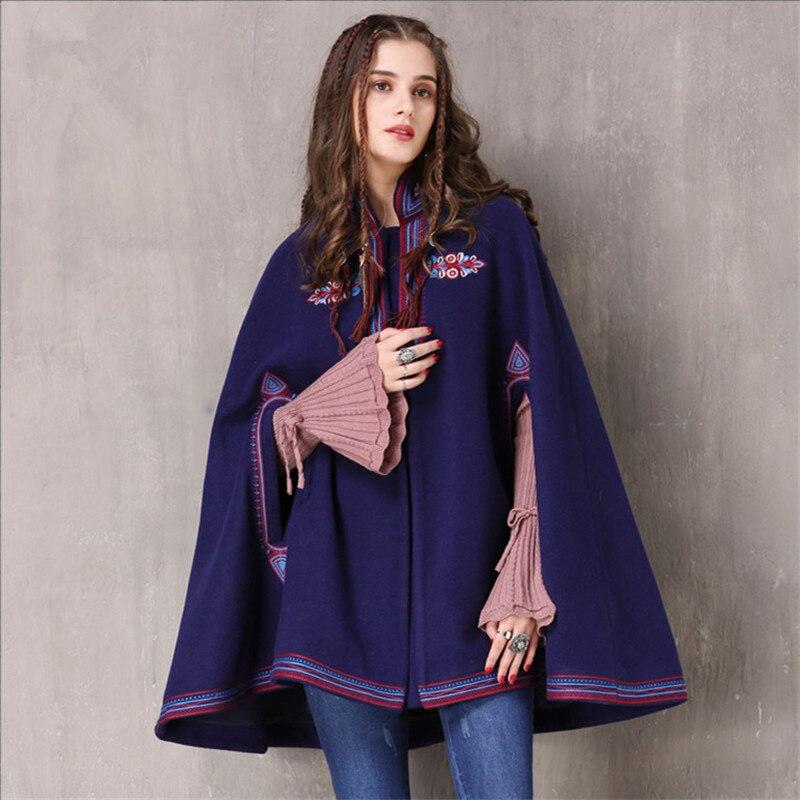 Здесь продается  Vintage Winter Cotton Wool Cloak Coat Women Embroidered Drop-Shoulder Sleeve Wool Cape Coat For women Wind proof Outerwear  Одежда и аксессуары