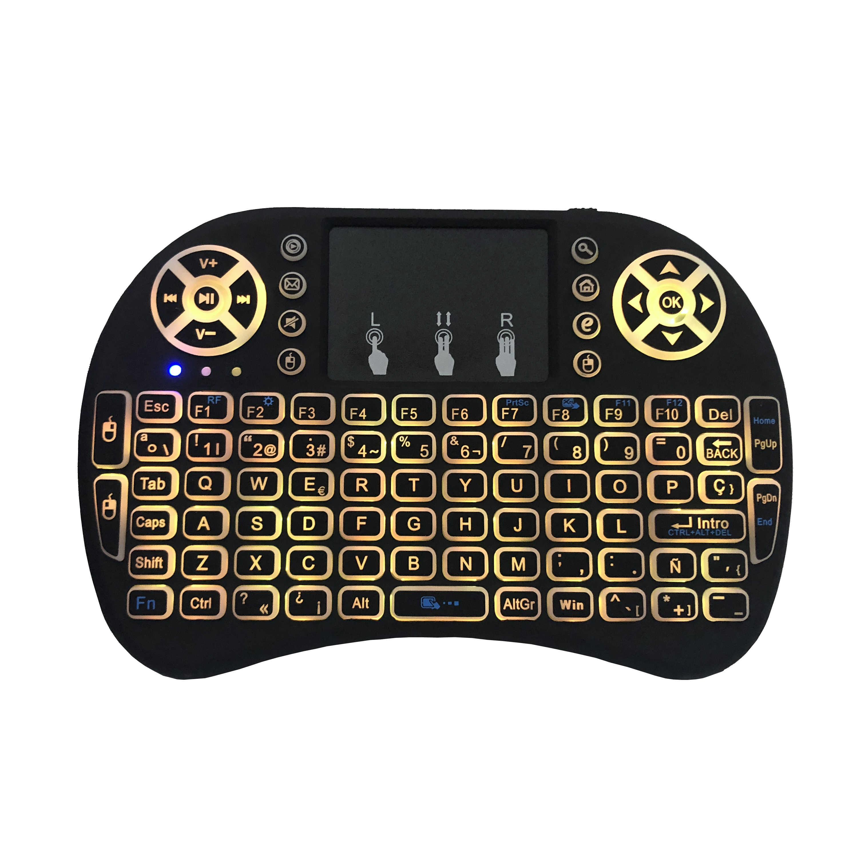 Spaans I8 Mini Toetsenbord 3 Kleur Backlit I8 + Lithium Batterij Backlight Air Muis Afstandsbediening Touchpad Handheld Tv Box laptop